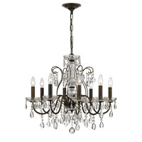 Traditional Crystal 8 Light 26 inch English Bronze Chandelier Ceiling Light