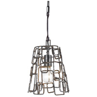 Lattice 1 Light 8 inch Raw Steel Mini Chandelier Ceiling Light