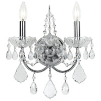 Crystorama 3222-CH-CL-MWP Imperial 2 Light 12 inch Polished Chrome Wall Sconce Wall Light in Clear Hand Cut