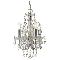 Imperial 4 Light 12 inch Polished Chrome Mini Chandelier Ceiling Light in Hand Cut, Polished Chrome (CH)