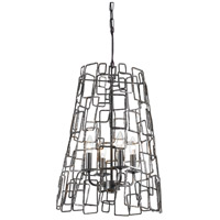Crystorama Lattice 4 Light Chandelier in Raw Steel 325-RS
