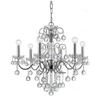 Crystorama 3326-CH-CL-MWP Imperial 6 Light 24 inch Polished Chrome Chandelier Ceiling Light