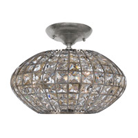 Crystorama Solstice 3 Light Semi-Flush Mount in Antique Silver with Hand Cut Crystals 340-SA