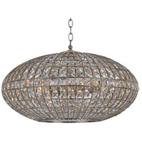 Crystorama Solstice 6 Light Chandelier in Antique Silver, Golden Shadow, Hand Cut 347-SA