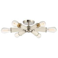 Zodiac 6 Light 14 inch Polished Nickel Semi Flush Mount Ceiling Light