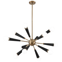 Zodiac 12 Light 34 inch Aged Brass Chandelier Ceiling Light