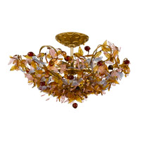 Crystorama Fiore 5 Light Semi-Flush Mount in Antique Gold Leaf 400-GA