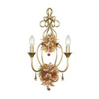 Crystorama Fiore 2 Light Wall Sconce in Antique Gold Leaf 402-GA