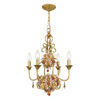 Crystorama Lighting Fiore 4 Light Chandelier in Antique Gold Leaf & Murano Leaves 404-GA