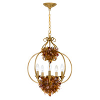 Crystorama Fiore 5 Light Foyer Lantern in Antique Gold Leaf 405-GA