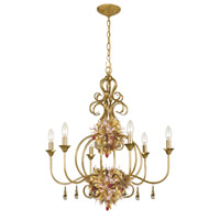 Crystorama Fiore 6 Light Chandelier in Antique Gold Leaf 406-GA