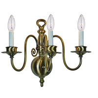 Signature 3 Light 16 inch Antique Brass Wall Sconce Wall Light