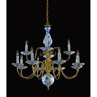 Crystorama Lighting Classic Ceramic 12 Light Chandelier in Polished Brass 4112-PB-D photo thumbnail