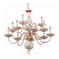 Crystorama Classic Ceramic 12 Light Chandelier in Polished Brass 4112-PB-R