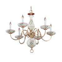 Crystorama Classic Ceramic 6 Light Bath Light in Polished Brass 4115-PB-R