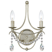 Crystorama 412-SA-CL-MWP Signature 2 Light 10 inch Antique Silver Wall Sconce Wall Light