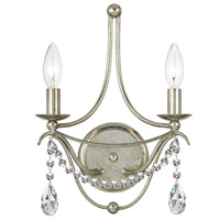 Crystorama Metro 2 Light Wall Sconce in Antique Silver 412-SA-CL-SAQ
