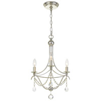 Crystorama 413-SA-CL-MWP Metro 3 Light 16 inch Antique Silver Mini Chandelier Ceiling Light