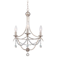Crystorama 413-SA-CL-SAQ Metro 3 Light 16 inch Antique Silver Mini Chandelier Ceiling Light