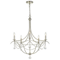 Signature 5 Light 28 inch Antique Silver Chandelier Ceiling Light in Hand Cut
