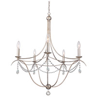Crystorama 415-SA-CL-SAQ Metro 5 Light 28 inch Antique Silver Chandelier Ceiling Light
