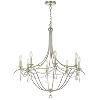 Signature 8 Light 32 inch Antique Silver Chandelier Ceiling Light in Hand Cut