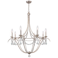 Signature 8 Light 32 inch Antique Silver Chandelier Ceiling Light in Swarovski Spectra (SAQ)