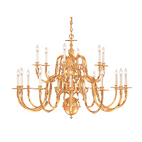 Crystorama Signature 15 Light Chandelier in Polished Brass, 72-in Width 419-72-18