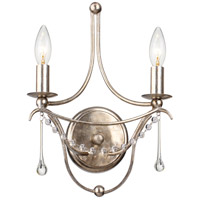 Crystorama Metro II 2 Light Wall Sconce in Antique Sliver with Murano Crystals 422-SA