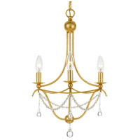 Crystorama 423-GA Metro 3 Light 16 inch Antique Gold Chandelier Ceiling Light