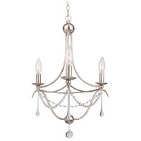 Crystorama Metro II 3 Light Chandelier in Antique Sliver with Murano Crystals 423-SA