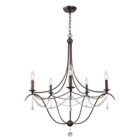 Crystorama Signature 5 Light Chandelier in English Bronze with Murano Crystals 425-EB