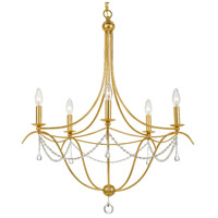 Crystorama 425-GA Metro 5 Light 28 inch Antique Gold Chandelier Ceiling Light