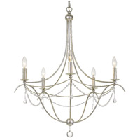 Crystorama Metro II 5 Light Chandelier in Antique Sliver with Murano Crystals 425-SA