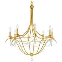 Metro 8 Light 32 inch Antique Gold Chandelier Ceiling Light