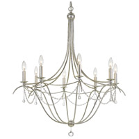 Crystorama Metro II 8 Light Chandelier in Antique Sliver with Murano Crystals 428-SA