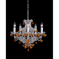 Signature 5 Light 18 inch Chrome Chandelier Ceiling Light in Chrome (CH), Amber