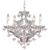 Crystorama Signature 6 Light Chandelier in Polished Chrome with Murano Crystals 4305-CH-ROSA
