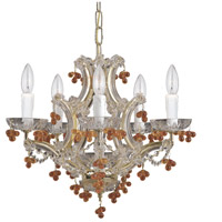 Signature 5 Light 18 inch Polished Brass Chandelier Ceiling Light in Polished Brass (PB), Amber
