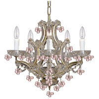 Crystorama Signature 5 Light Chandelier in Polished Brass, Rosa 4305-PB-ROSA
