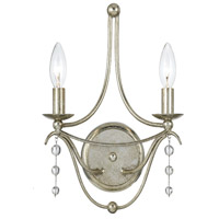 Crystorama Metro II 2 Light Wall Sconce in Antique Silver 432-SA