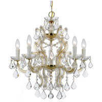 Maria Theresa 6 Light 23 inch Gold Chandelier Ceiling Light in Hand Cut, Gold (GD)