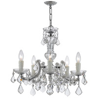 Crystorama 4376-CH-CL-MWP Maria Theresa 5 Light 20 inch Polished Chrome Mini Chandelier Ceiling Light in Polished Chrome (CH), Clear Hand Cut