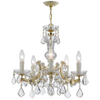 Maria Theresa 5 Light 20 inch Gold Chandelier Ceiling Light in Hand Cut, Gold (GD)