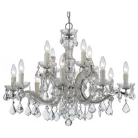 Crystorama Maria Theresa 12 Light Chandelier in Polished Chrome, Italian Crystals 4379-CH-CL-I