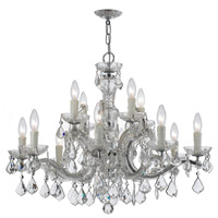 Maria Theresa 12 Light 30 inch Polished Chrome Chandelier Ceiling Light in Hand Cut, Polished Chrome (CH)