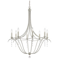 Crystorama Metro 8 Light Chandelier in Antique Silver with Clear Bead Crystals 438-SA