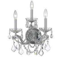 Signature 3 Light 14 inch Polished Chrome Chandelier Ceiling Light in Hand Cut, Polished Chrome (CH)