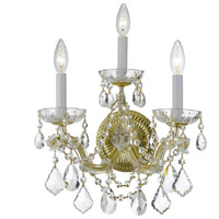 Signature 3 Light 14 inch Gold Chandelier Ceiling Light in Hand Cut, Gold (GD)