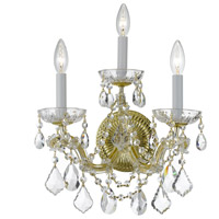 Crystorama 4403-GD-CL-SAQ Maria Theresa 3 Light 14 inch Gold Wall Sconce Wall Light in Swarovski Spectra (SAQ), Gold (GD)